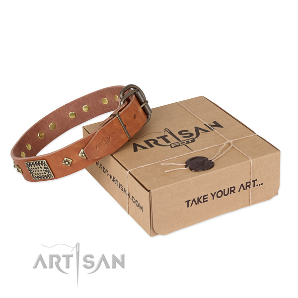 Easy to adjust full grain leather collar for your handsome pet