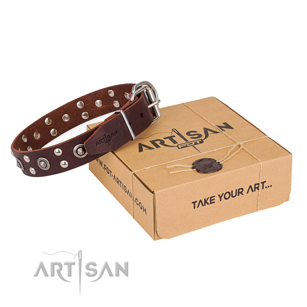 Rust resistant fittings on genuine leather collar for your stylish canine