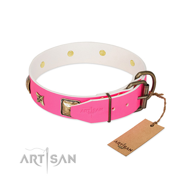 Strong fittings on natural genuine leather collar for walking your doggie