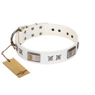 """Bling-Bling"" FDT Artisan White Leather English Bulldog Collar with Sparkling Stars and Plates"