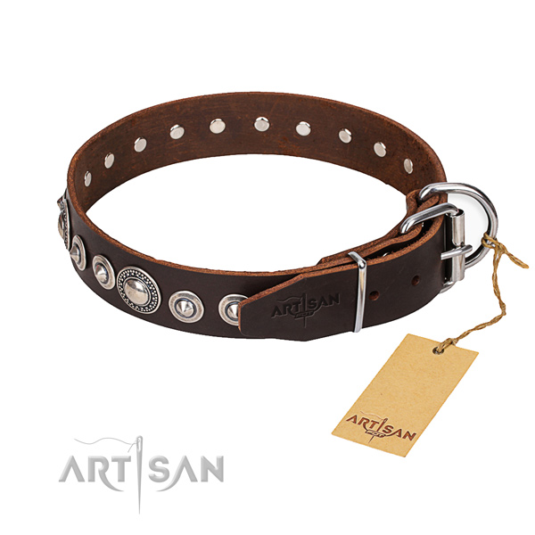 Full grain genuine leather dog collar made of best quality material with durable hardware