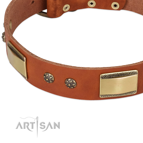 Corrosion resistant studs on natural genuine leather dog collar for your four-legged friend