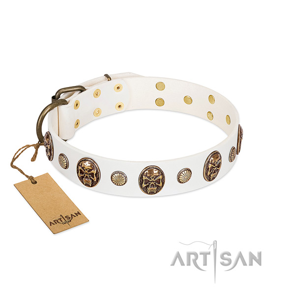 Adorned full grain natural leather dog collar for handy use