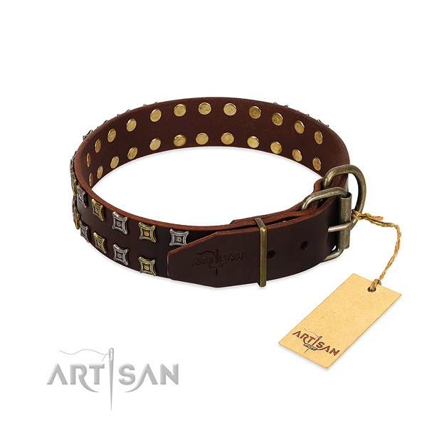 Top notch full grain natural leather dog collar made for your four-legged friend