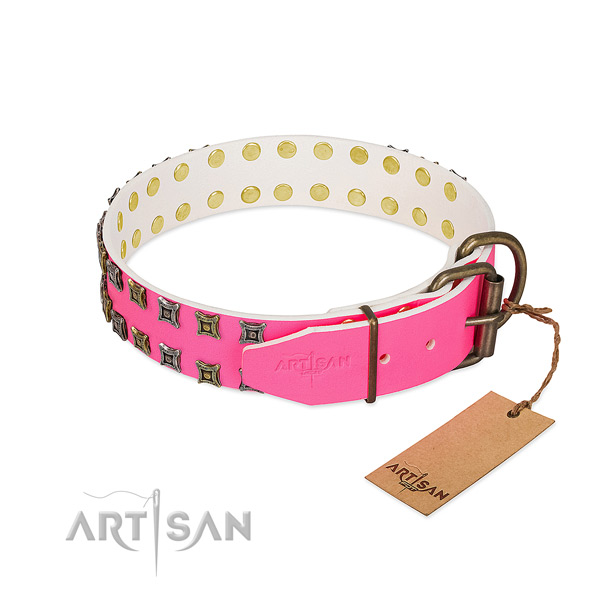 Genuine leather collar with unique decorations for your pet
