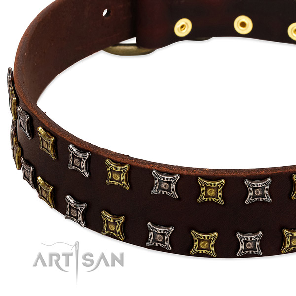 Soft full grain genuine leather dog collar for your impressive pet