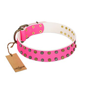 """Blushing Star"" FDT Artisan Pink Leather English Bulldog Collar with Two Rows of Small Studs"
