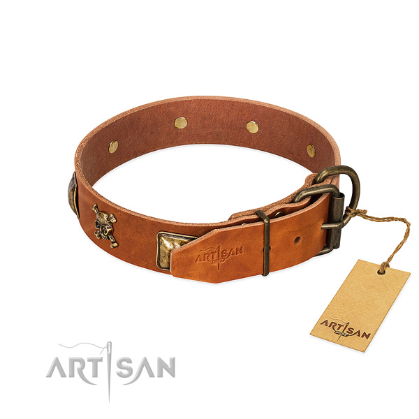 Inimitable leather dog collar with corrosion resistant adornments