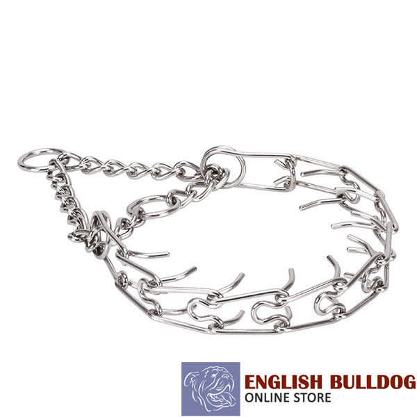 Rust proof stainless steel prong collar for badly behaved canines