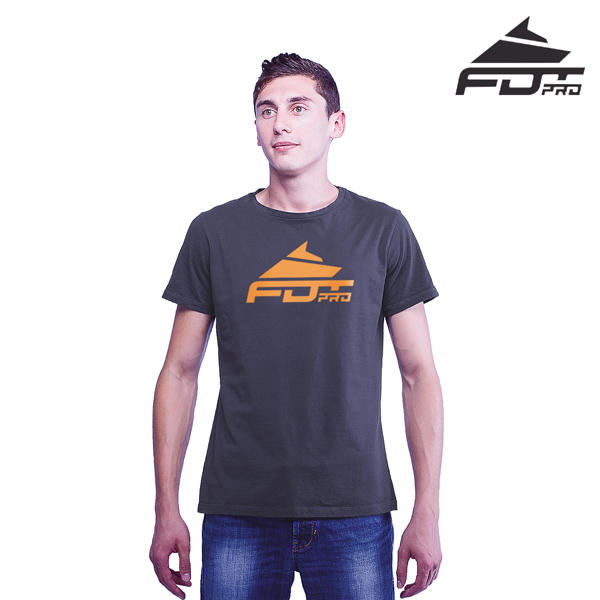 Top Quality Cotton FDT Professional Men T-shirt of Dark Grey Color