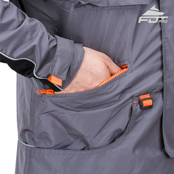 Grey Color FDT Professional Design Dog Tracking Jacket with Strong Side Pockets