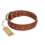 """Broadway"" Handmade FDT Artisan Tan Leather English Bulldog Collar with Dotted Pyramids"