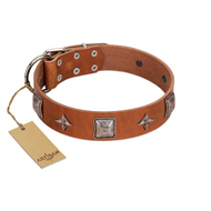 """Lucky Star"" FDT Artisan Tan Leather English Bulldog Collar with Silver-Like Embellishments"
