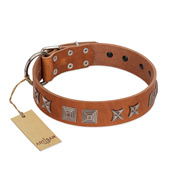 """Antique Figures"" FDT Artisan Tan Leather English Bulldog Collar with Silver-like Engraved Plates"