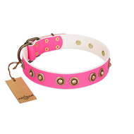 """Bright Delight"" Pink FDT Artisan Leather English Bulldog Collar with Large Old Bronze-like Plated Studs"