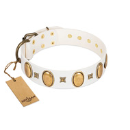 """Chichi Pearl"" Designer Handmade FDT Artisan White Leather English Bulldog Collar with Ovals and Studs"