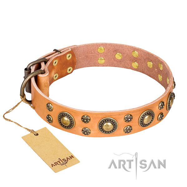 Top notch natural genuine leather dog collar for stylish walking