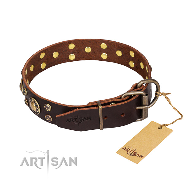 Walking natural genuine leather collar with adornments for your pet