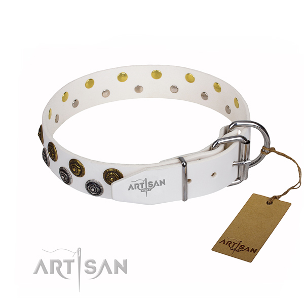 Walking natural genuine leather collar with decorations for your four-legged friend