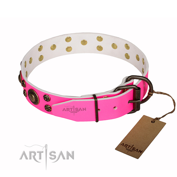 Everyday walking natural genuine leather collar with decorations for your canine