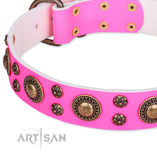 Natural genuine leather dog collar with unusual decorations