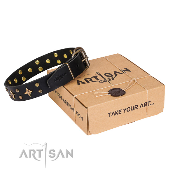 Embellished leather dog collar for comfortable wearing
