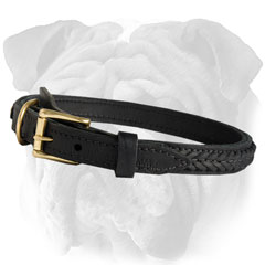 English Bulldog Braided Leather Collar Handcrafted