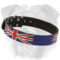 Trendy English Bulldog collar with Union Jack painting