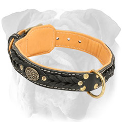 Leather English Bulldog Collar with D-Ring