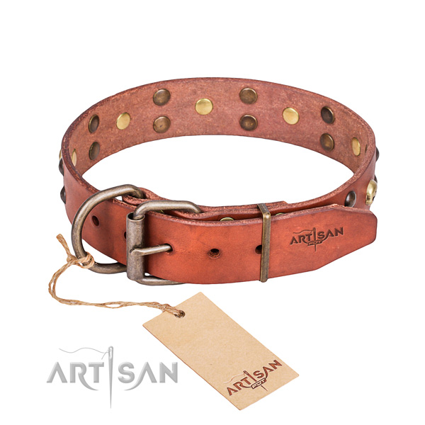 Leather dog collar with thoroughly polished edges for convenient walking