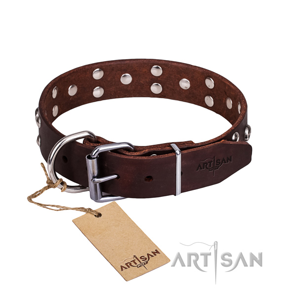 Leather dog collar with polished edges for pleasant daily wearing