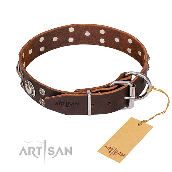 Full grain natural leather dog collar with worked out exterior