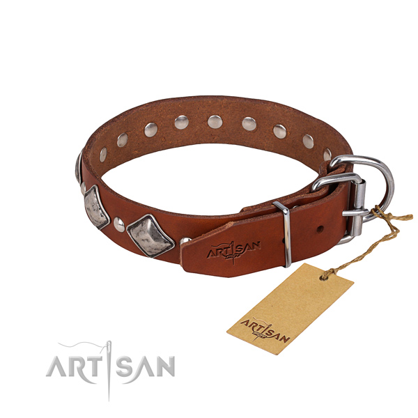 Genuine leather dog collar with worked out exterior