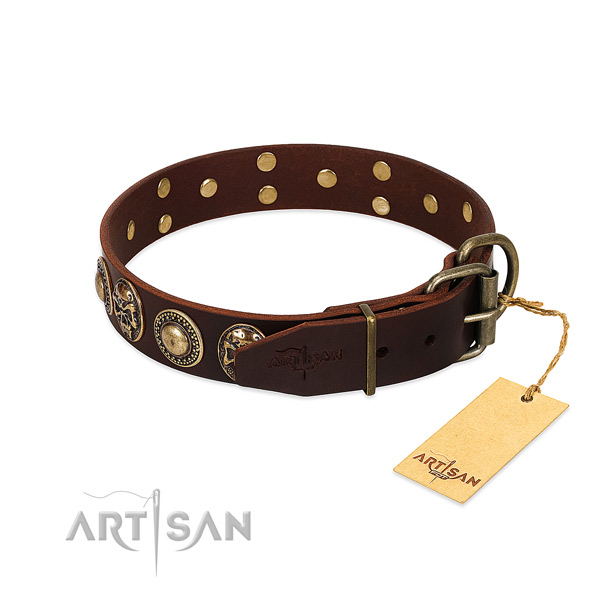 Handy use full grain natural leather collar with embellishments for your four-legged friend