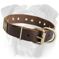 Adjustable Leather Dog Collar with Plates