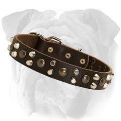 English Bulldog Collar Made From Genuine Leather