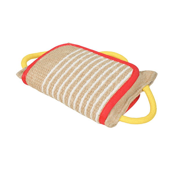 Handy jute bite pad with a solid cover for English  Bulldog
