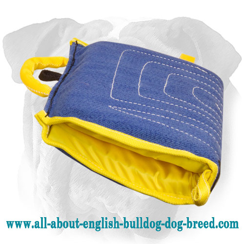 Linen English Bulldog bite sleeve with soft strong handle