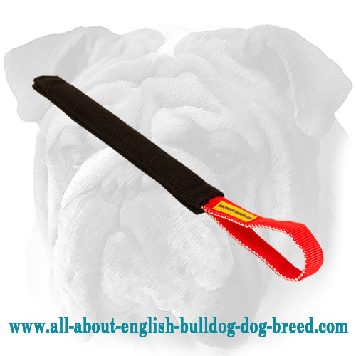 French linen English Bulldog bite tug with nylon handle
