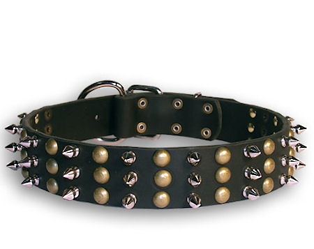 Leather Spike and Stud Black collar 26'' for English Bulldog /26 inch dog collar-S59