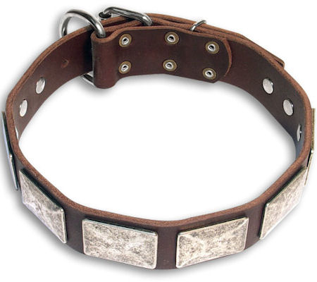Vintage dog Brown  collar 27'' for English Bulldog /27 inch dog collar-c83