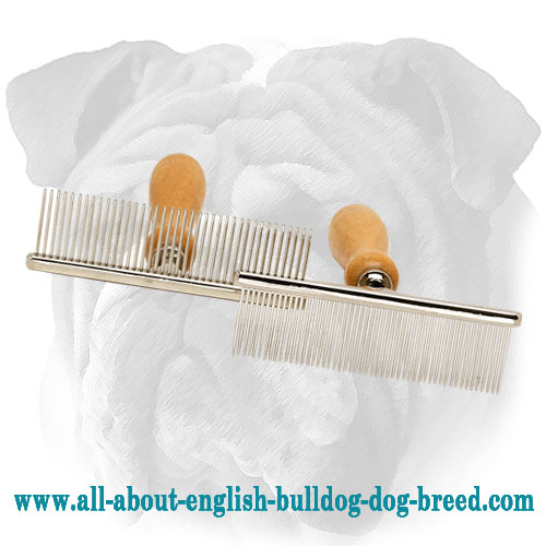 Quality Metal Brush for English Bulldog Grooming with Wooden Handle