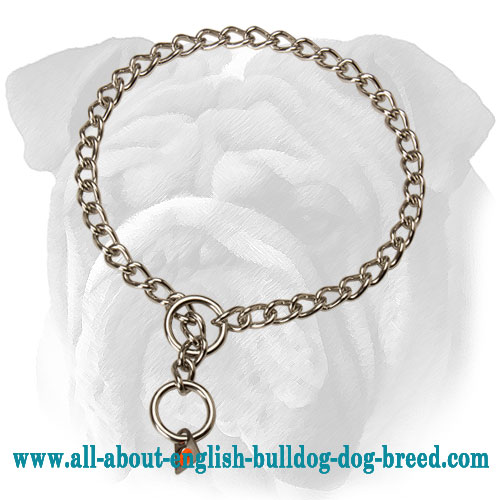 Stainless Steel English Bulldog Choke Collar for Behavior Correction - 1/9 inch (3 mm)