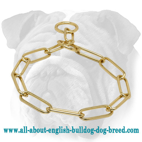 """Obedience Manager"" Brass English Bulldog Choke Chain Collar - 1/6 inch (4 mm)"