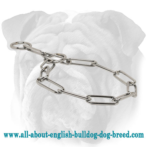 """Smooth Correction"" Stainless Steel English Bulldog Choke Collar - 1/6 inch (4.0 mm)"