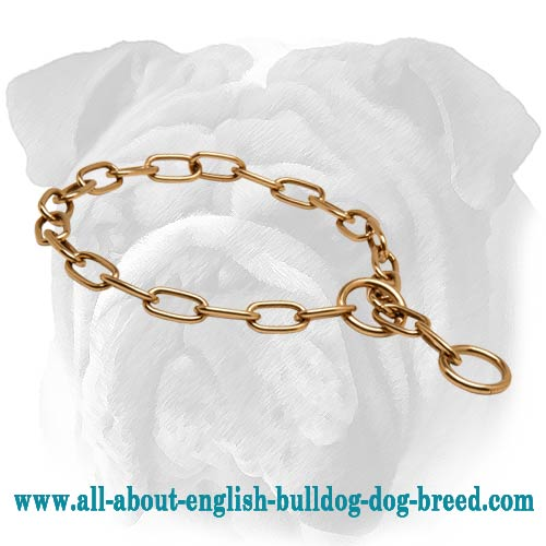 Curogan Fur Saver for English Bulldog - Stylish Choke Chain Collar - 1/9 inch (3 mm)