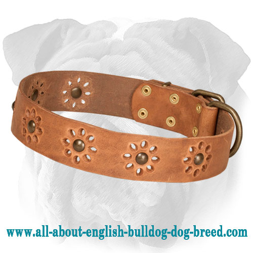 """Spring is in the Air"" Leather English Bulldog Collar with Flower Adornment"