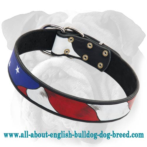 Amazing Patriotic American Flag English Bulldog Collar