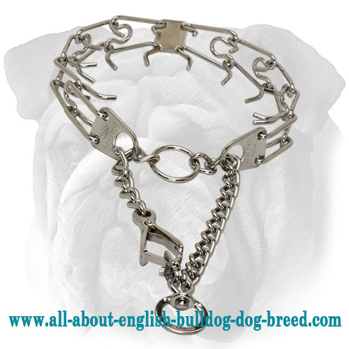 Chrome Plated English Bulldog Prong Collar with Scissors-Like Snap Hook - 1/11 inch (2.25 mm)