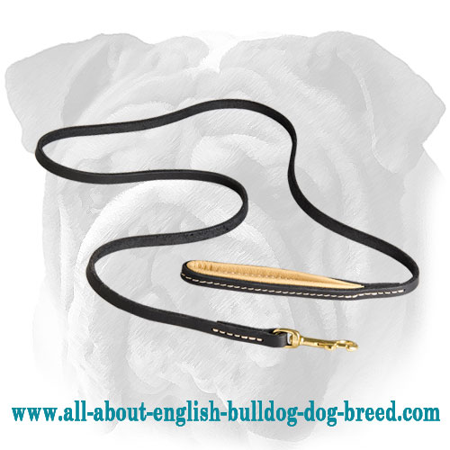 Practical Leather English Bulldog Leash with Nappa Padded Handle